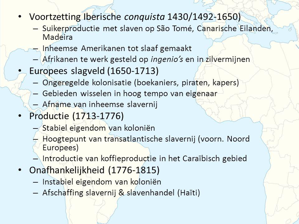 Voortzetting Iberische conquista 1430/1492-1650) – Suikerproductie met slaven op São Tomé, Canarische Eilanden, Madeira – Inheemse Amerikanen tot slaaf gemaakt – Afrikanen te werk gesteld op ingenio's en in zilvermijnen Europees slagveld (1650-1713) – Ongeregelde kolonisatie (boekaniers, piraten, kapers) – Gebieden wisselen in hoog tempo van eigenaar – Afname van inheemse slavernij Productie (1713-1776) – Stabiel eigendom van koloniën – Hoogtepunt van transatlantische slavernij (voorn.