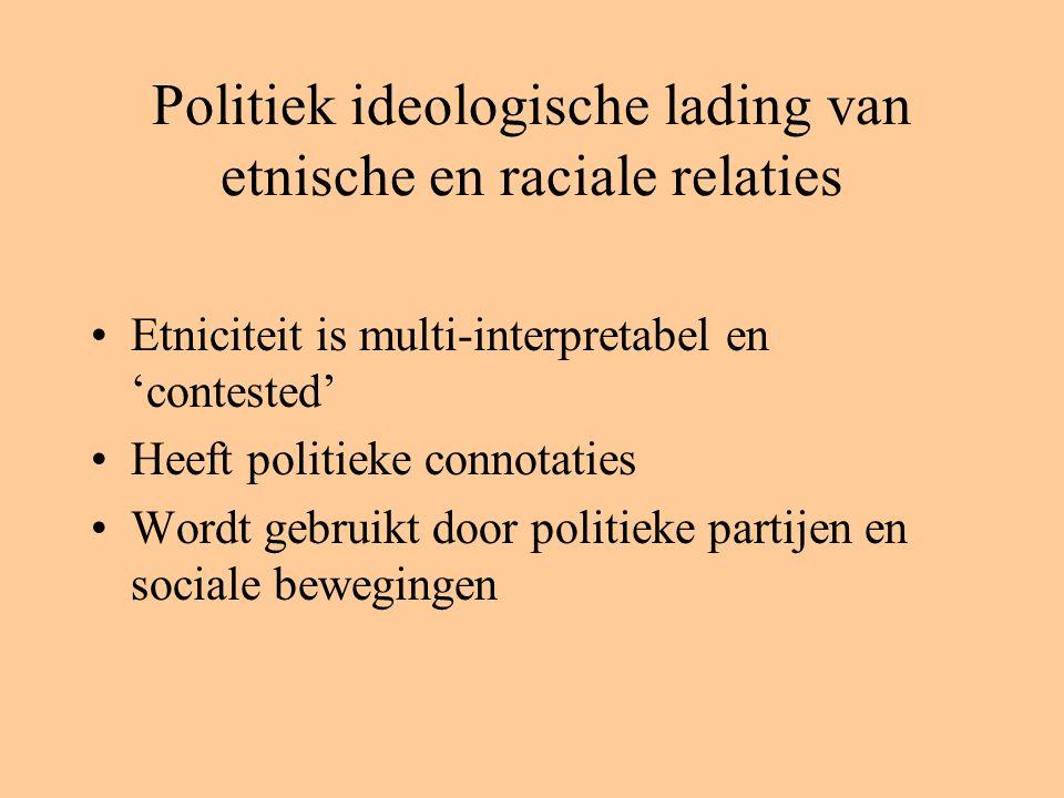 Politiek ideologische lading van etnische en raciale relaties Etniciteit is multi-interpretabel en 'contested' Heeft politieke connotaties Wordt gebruikt door politieke partijen en sociale bewegingen