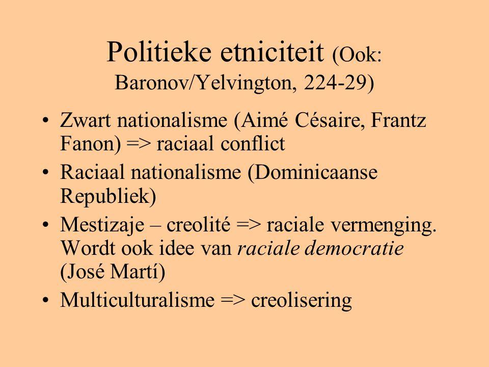 Politieke etniciteit (Ook: Baronov/Yelvington, 224-29) Zwart nationalisme (Aimé Césaire, Frantz Fanon) => raciaal conflict Raciaal nationalisme (Dominicaanse Republiek) Mestizaje – creolité => raciale vermenging.