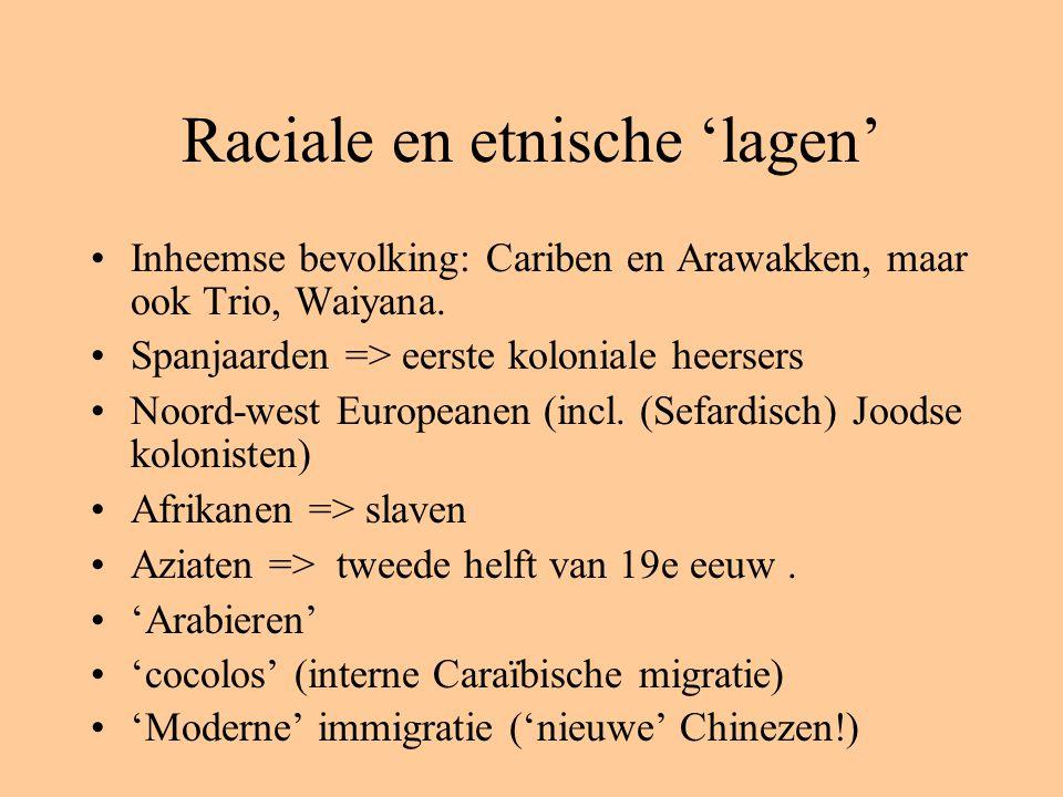 Raciale en etnische 'lagen' Inheemse bevolking: Cariben en Arawakken, maar ook Trio, Waiyana. Spanjaarden => eerste koloniale heersers Noord-west Euro