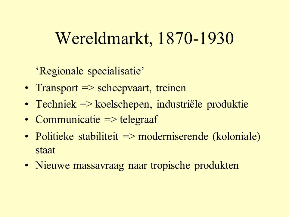 Wereldmarkt, 1870-1930 'Regionale specialisatie' Transport => scheepvaart, treinen Techniek => koelschepen, industriële produktie Communicatie => telegraaf Politieke stabiliteit => moderniserende (koloniale) staat Nieuwe massavraag naar tropische produkten