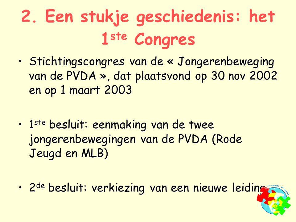 2. Een stukje geschiedenis: het 1 ste Congres Stichtingscongres van de « Jongerenbeweging van de PVDA », dat plaatsvond op 30 nov 2002 en op 1 maart 2
