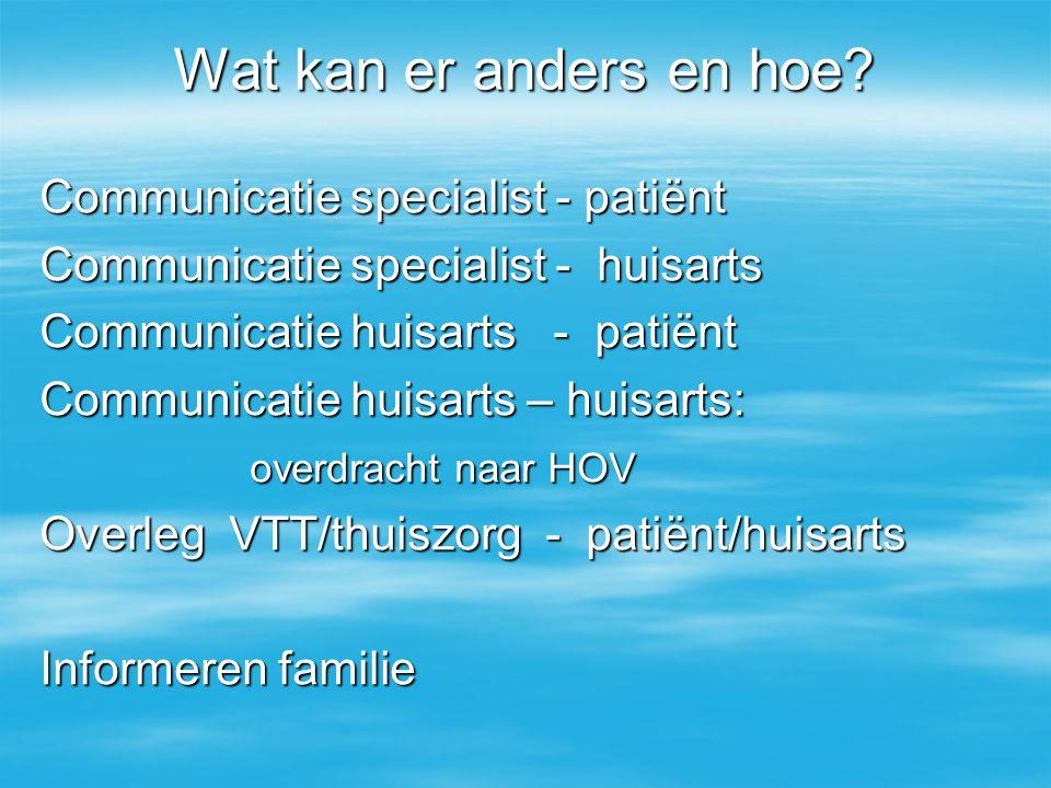 Wat kan er anders en hoe? Communicatie specialist - patiënt Communicatie specialist - huisarts Communicatie huisarts - patiënt Communicatie huisarts –
