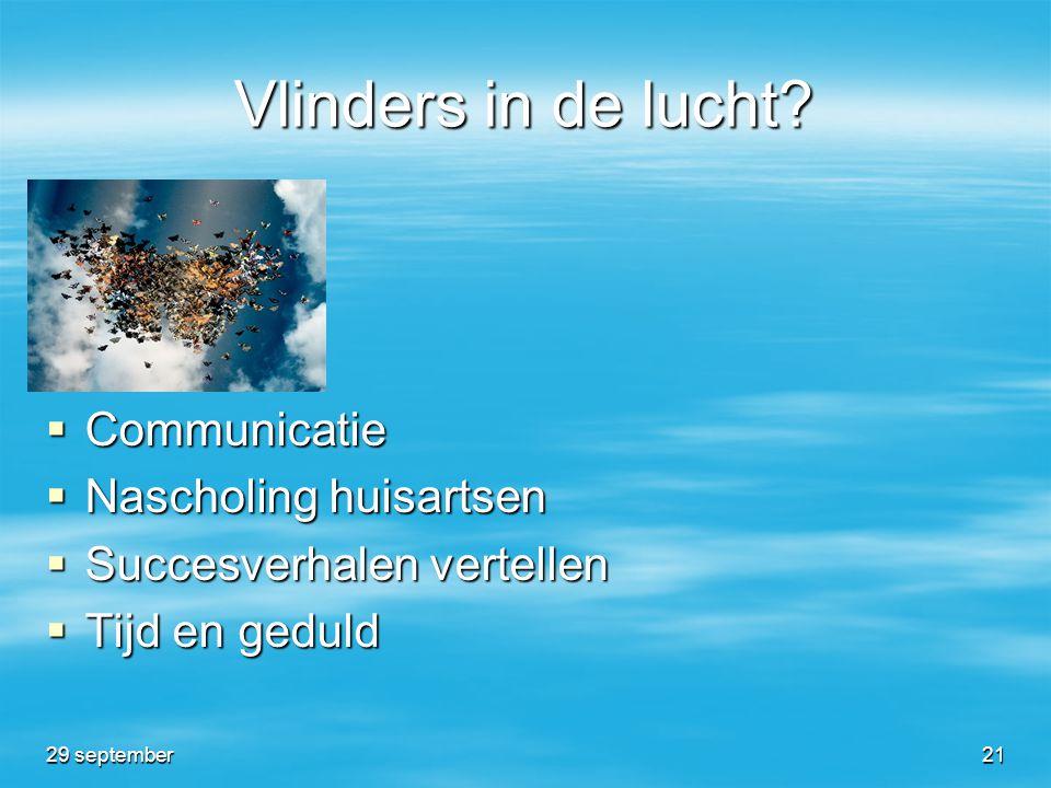 Vlinders in de lucht?  Communicatie  Nascholing huisartsen  Succesverhalen vertellen  Tijd en geduld 29 september21