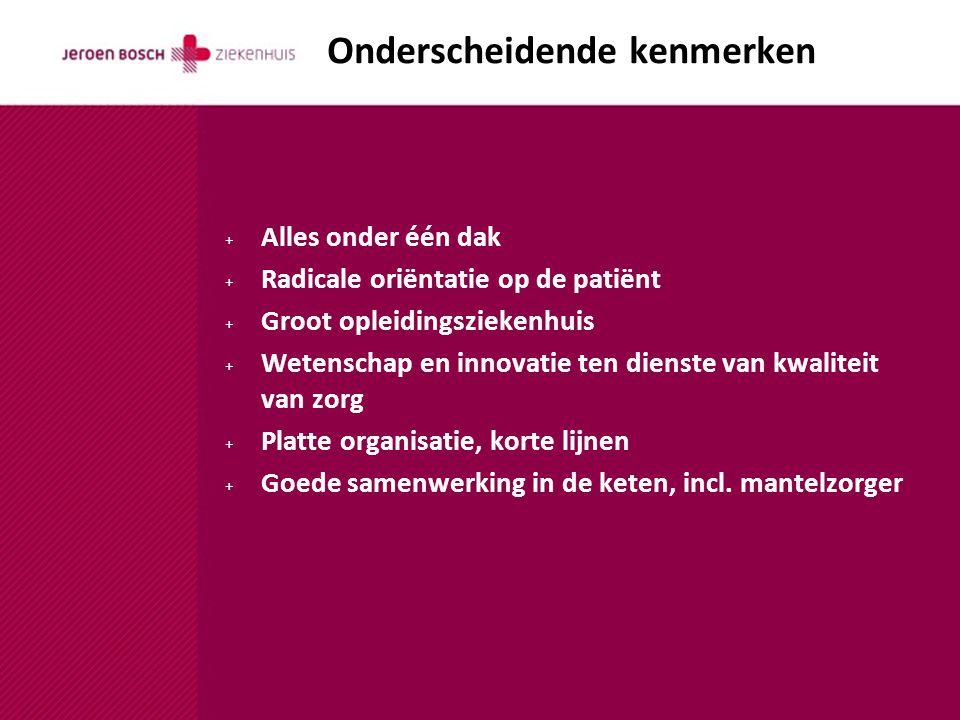 + Alles onder één dak + Radicale oriëntatie op de patiënt + Groot opleidingsziekenhuis + Wetenschap en innovatie ten dienste van kwaliteit van zorg + Platte organisatie, korte lijnen + Goede samenwerking in de keten, incl.