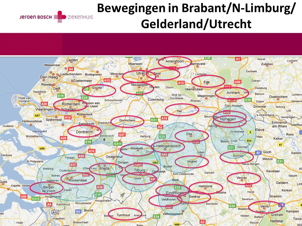 Bewegingen in Brabant/N-Limburg/ Gelderland/Utrecht