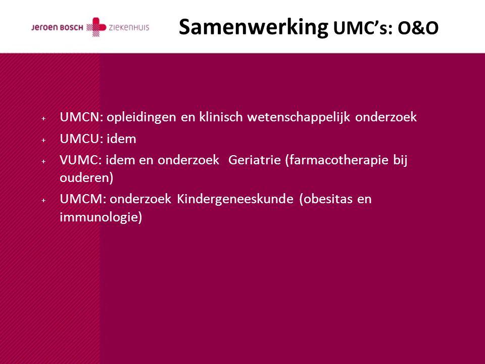 Samenwerking UMC's: O&O + UMCN: opleidingen en klinisch wetenschappelijk onderzoek + UMCU: idem + VUMC: idem en onderzoek Geriatrie (farmacotherapie bij ouderen) + UMCM: onderzoek Kindergeneeskunde (obesitas en immunologie)