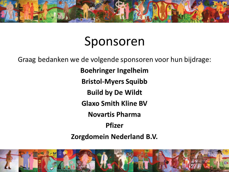 Sponsoren Graag bedanken we de volgende sponsoren voor hun bijdrage: Boehringer Ingelheim Bristol-Myers Squibb Build by De Wildt Glaxo Smith Kline BV Novartis Pharma Pfizer Zorgdomein Nederland B.V.
