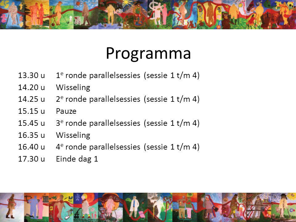 Programma 13.30 u1 e ronde parallelsessies (sessie 1 t/m 4) 14.20 uWisseling 14.25 u2 e ronde parallelsessies (sessie 1 t/m 4) 15.15 uPauze 15.45 u3 e ronde parallelsessies (sessie 1 t/m 4) 16.35 uWisseling 16.40 u4 e ronde parallelsessies (sessie 1 t/m 4) 17.30 uEinde dag 1