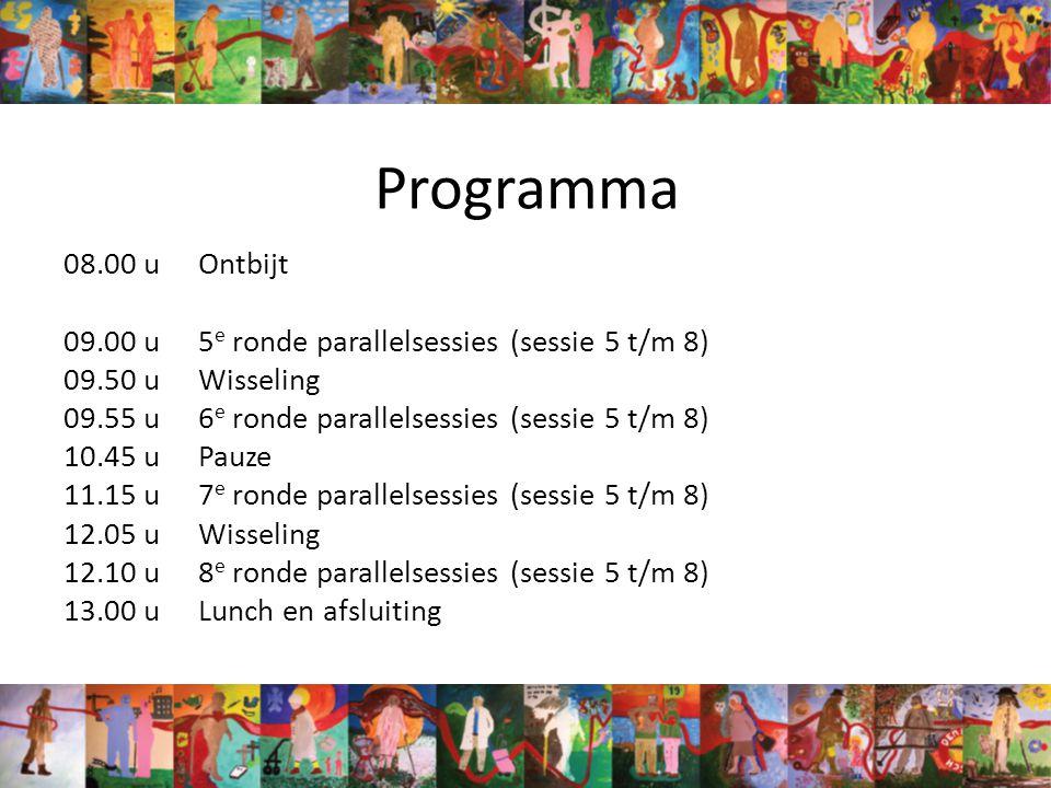 Programma 08.00 uOntbijt 09.00 u5 e ronde parallelsessies (sessie 5 t/m 8) 09.50 uWisseling 09.55 u6 e ronde parallelsessies (sessie 5 t/m 8) 10.45 uPauze 11.15 u7 e ronde parallelsessies (sessie 5 t/m 8) 12.05 uWisseling 12.10 u8 e ronde parallelsessies (sessie 5 t/m 8) 13.00 uLunch en afsluiting