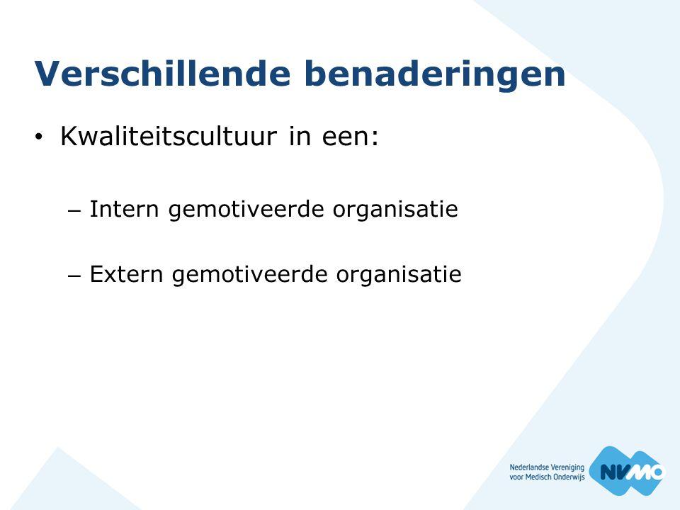 Verschillende benaderingen Kwaliteitscultuur in een: – Intern gemotiveerde organisatie – Extern gemotiveerde organisatie