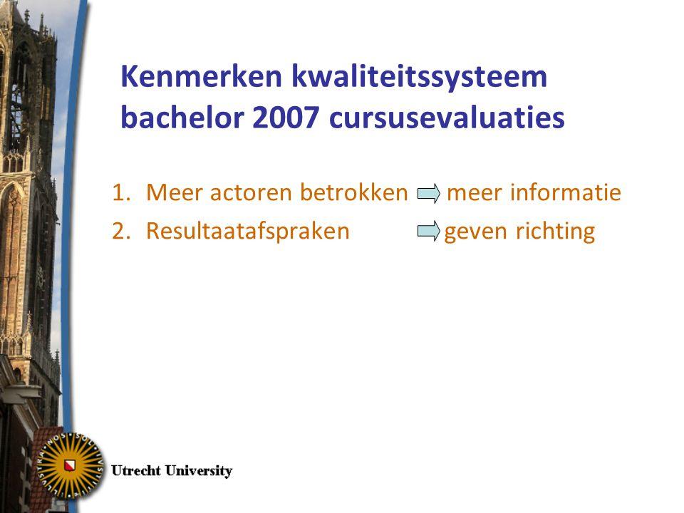 Kenmerken kwaliteitssysteem bachelor 2007 cursusevaluaties 1.Meer actoren betrokken meer informatie 2.Resultaatafspraken geven richting