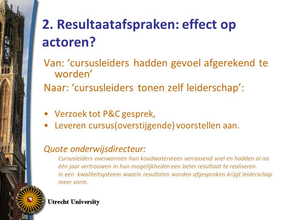 2.Resultaatafspraken: effect op actoren.