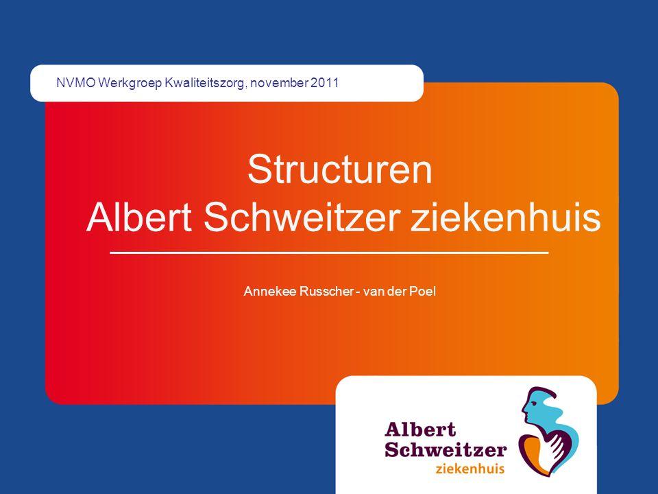 Structuren Albert Schweitzer ziekenhuis Annekee Russcher - van der Poel NVMO Werkgroep Kwaliteitszorg, november 2011