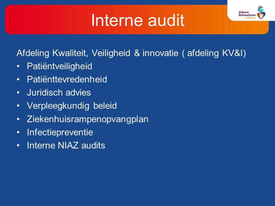 Afdeling Kwaliteit, Veiligheid & innovatie ( afdeling KV&I) Patiëntveiligheid Patiënttevredenheid Juridisch advies Verpleegkundig beleid Ziekenhuisrampenopvangplan Infectiepreventie Interne NIAZ audits Interne audit