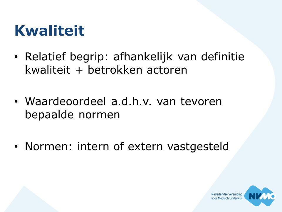Kwaliteit Relatief begrip: afhankelijk van definitie kwaliteit + betrokken actoren Waardeoordeel a.d.h.v.