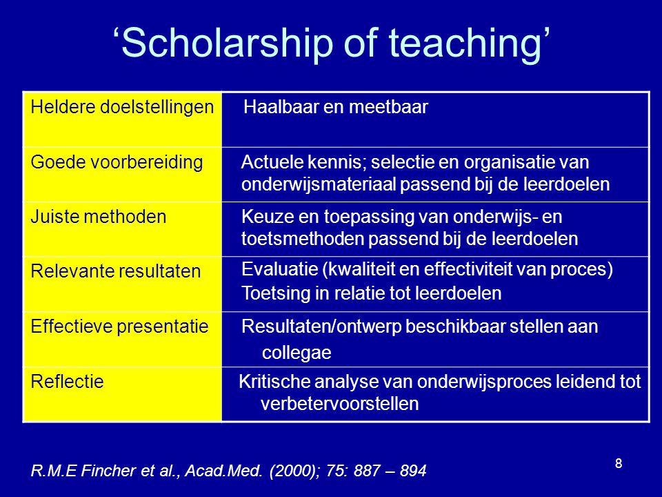 9 Van docent naar 'teaching scholar' 'Teaching' 'Scholarship of teaching' 'Scholarly teaching' Goed onderwijs geven activerend en studentgericht 'Scholarship' toegankelijk voor anderen open voor kritiek en evaluatie (criteria) reproduceerbaar basis om op voort te bouwen vragen stellen en onderzoeken Inzicht in het leren van studenten Ontwikkelen van het onderwijs/opleidingsveld (P.Hutchings and) L.Shulman, Change (1999); 31: 1 – 15 Fincher, R.M.E.