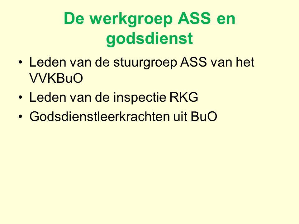 De werkgroep ASS en godsdienst Leden van de stuurgroep ASS van het VVKBuO Leden van de inspectie RKG Godsdienstleerkrachten uit BuO