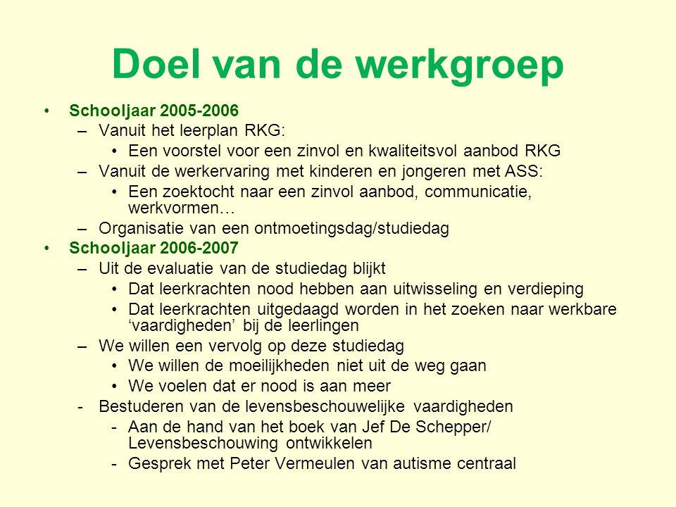 Doel van de werkgroep Schooljaar 2005-2006 –Vanuit het leerplan RKG: Een voorstel voor een zinvol en kwaliteitsvol aanbod RKG –Vanuit de werkervaring