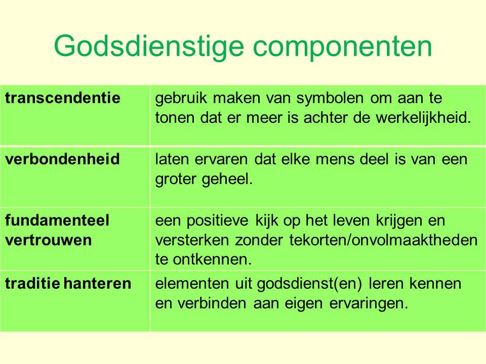 Godsdienstige componenten transcendentiegebruik maken van symbolen om aan te tonen dat er meer is achter de werkelijkheid. verbondenheidlaten ervaren