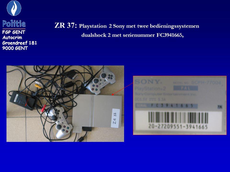 ZR 37: Playstation 2 Sony met twee bedieningssystemen dualshock 2 met serienummer FC3941665, FGP GENT Autocrim Groendreef 181 9000 GENT
