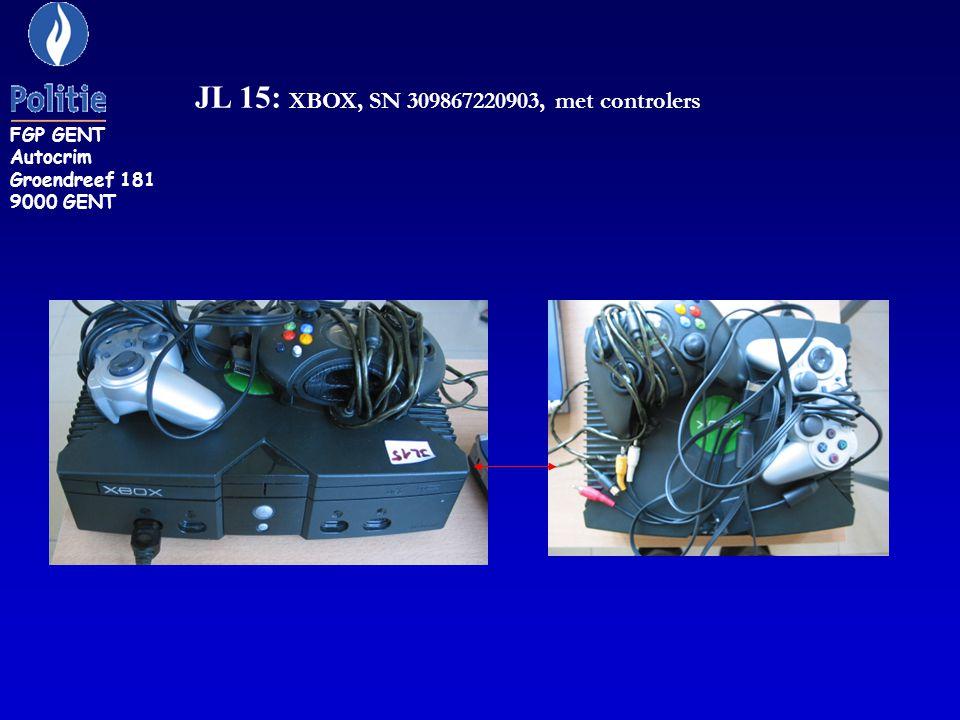 JL 15: XBOX, SN 309867220903, met controlers FGP GENT Autocrim Groendreef 181 9000 GENT