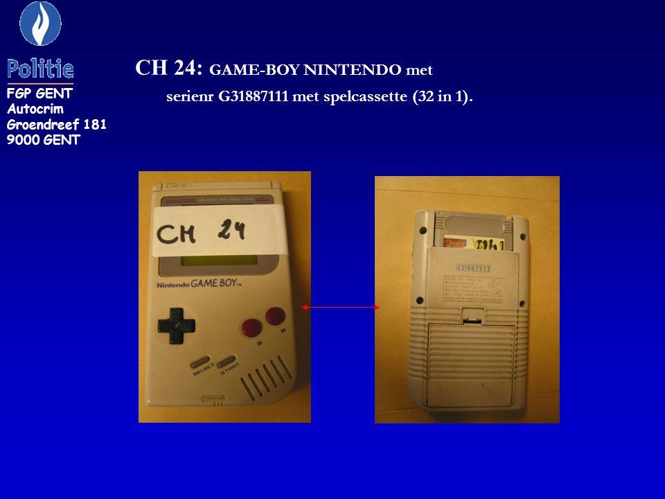 CH 24: GAME-BOY NINTENDO met serienr G31887111 met spelcassette (32 in 1). FGP GENT Autocrim Groendreef 181 9000 GENT