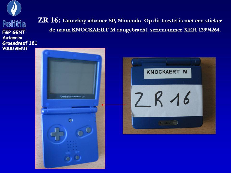 ZR 16: Gameboy advance SP, Nintendo. Op dit toestel is met een sticker de naam KNOCKAERT M aangebracht. serienummer XEH 13994264. FGP GENT Autocrim Gr