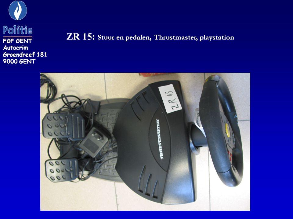 ZR 15: Stuur en pedalen, Thrustmaster, playstation FGP GENT Autocrim Groendreef 181 9000 GENT