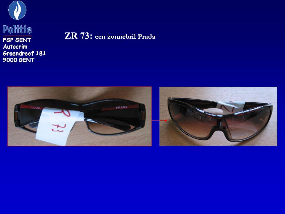 ZR 73: een zonnebril Prada FGP GENT Autocrim Groendreef 181 9000 GENT