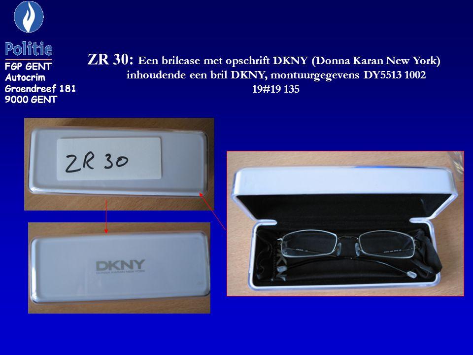 ZR 30: Een brilcase met opschrift DKNY (Donna Karan New York) inhoudende een bril DKNY, montuurgegevens DY5513 1002 19#19 135 FGP GENT Autocrim Groend