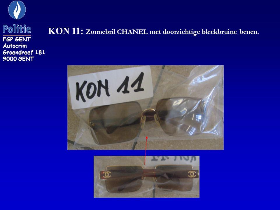 KON 11: Zonnebril CHANEL met doorzichtige bleekbruine benen. FGP GENT Autocrim Groendreef 181 9000 GENT