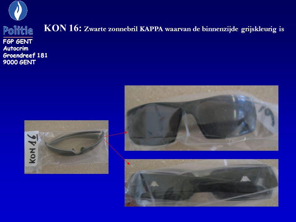 ZR 30: Een brilcase met opschrift DKNY (Donna Karan New York) inhoudende een bril DKNY, montuurgegevens DY5513 1002 19#19 135 FGP GENT Autocrim Groendreef 181 9000 GENT