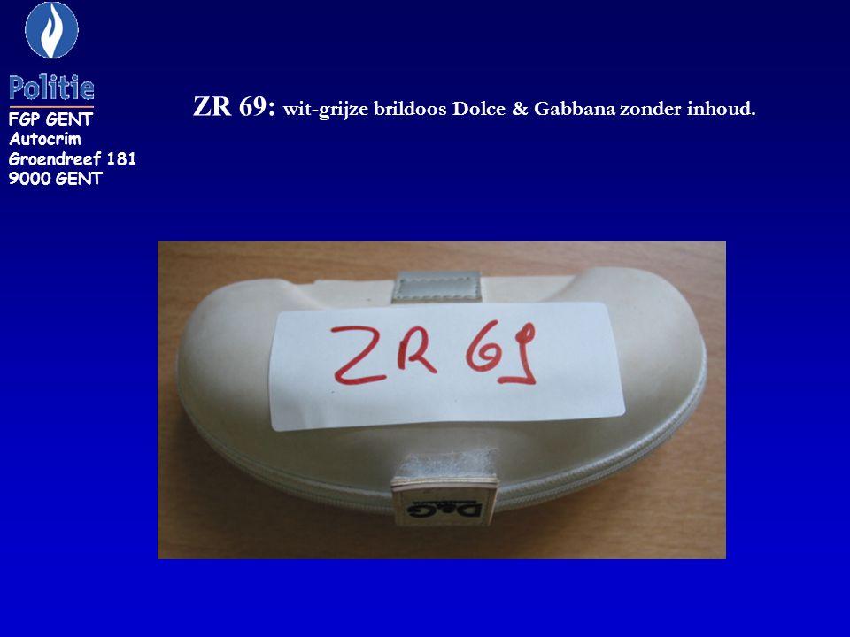 ZR 69: wit-grijze brildoos Dolce & Gabbana zonder inhoud. FGP GENT Autocrim Groendreef 181 9000 GENT