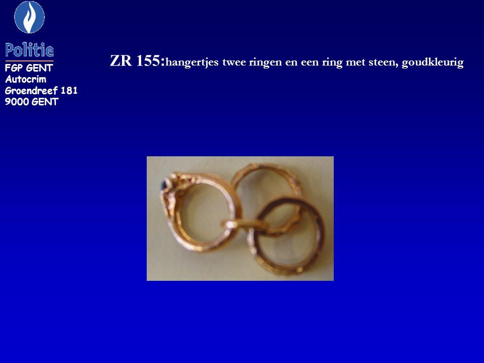 ZR 155: hangertjes twee ringen en een ring met steen, goudkleurig FGP GENT Autocrim Groendreef 181 9000 GENT