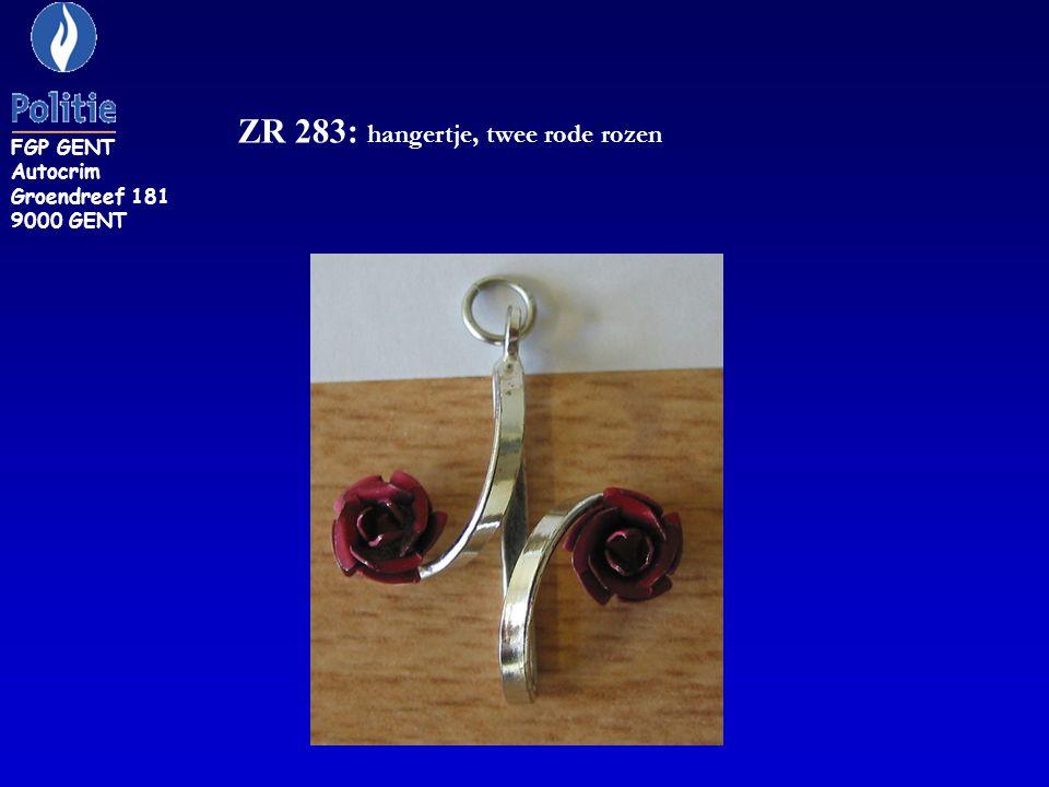ZR 283: hangertje, twee rode rozen FGP GENT Autocrim Groendreef 181 9000 GENT