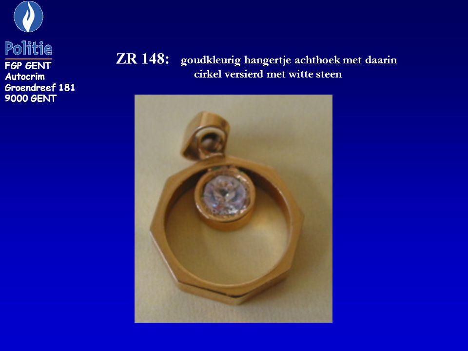 ZR 148: goudkleurig hangertje achthoek met daarin cirkel versierd met witte steen FGP GENT Autocrim Groendreef 181 9000 GENT