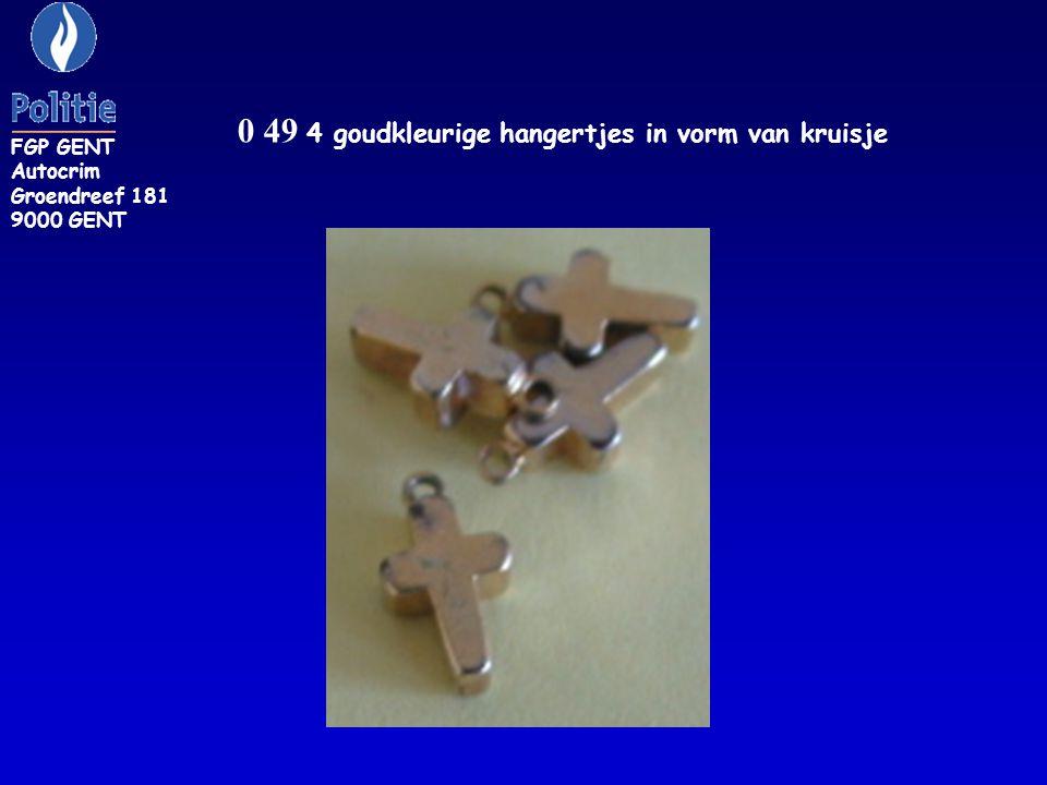 0 50: Goudkleurig hangertje in de vorm van een sterretje FGP GENT Autocrim Graoendreef 181 9000 GENT