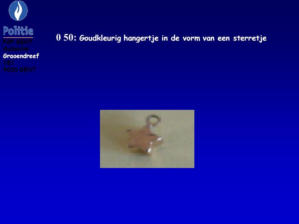 0 51: Goudkleurig hangertje in de vorm van een hartje FGP GENT Autocrim Groendreef 181 9000 GENT