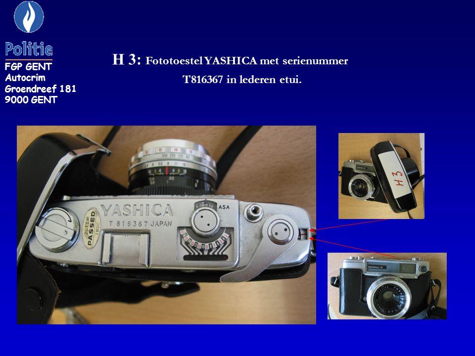 H 3: Fototoestel YASHICA met serienummer T816367 in lederen etui.