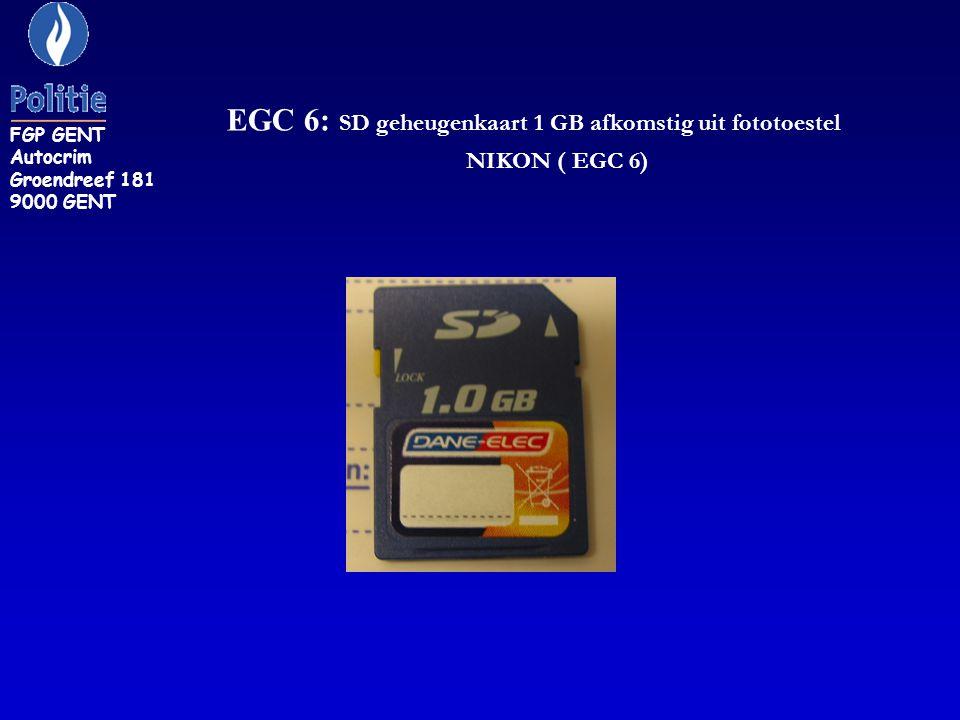 EGC 6: SD geheugenkaart 1 GB afkomstig uit fototoestel NIKON ( EGC 6) FGP GENT Autocrim Groendreef 181 9000 GENT