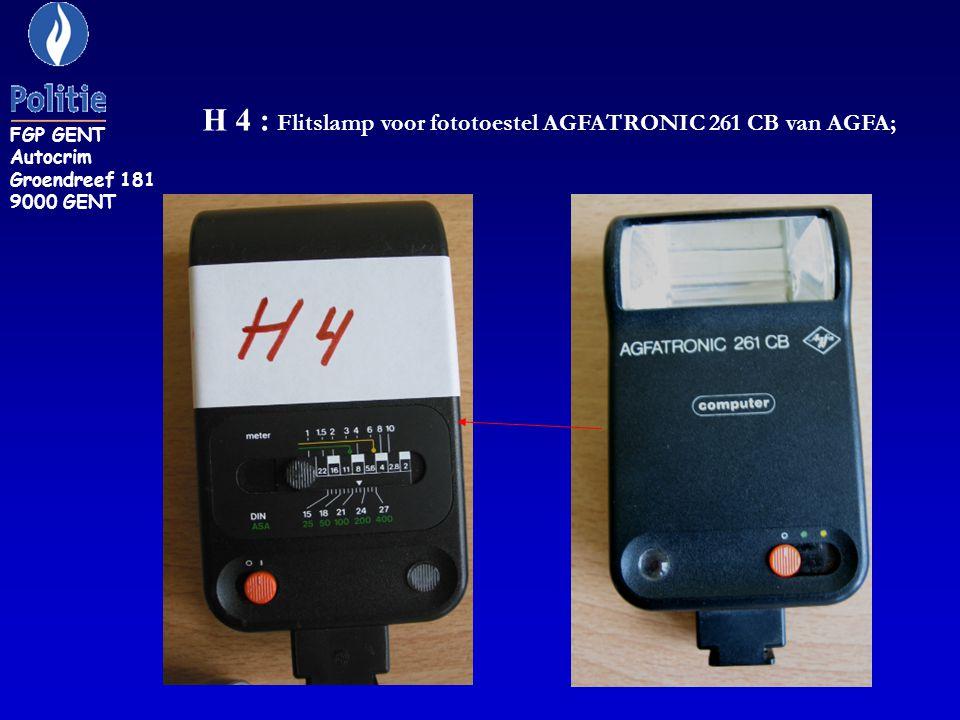 H 4 : Flitslamp voor fototoestel AGFATRONIC 261 CB van AGFA; FGP GENT Autocrim Groendreef 181 9000 GENT