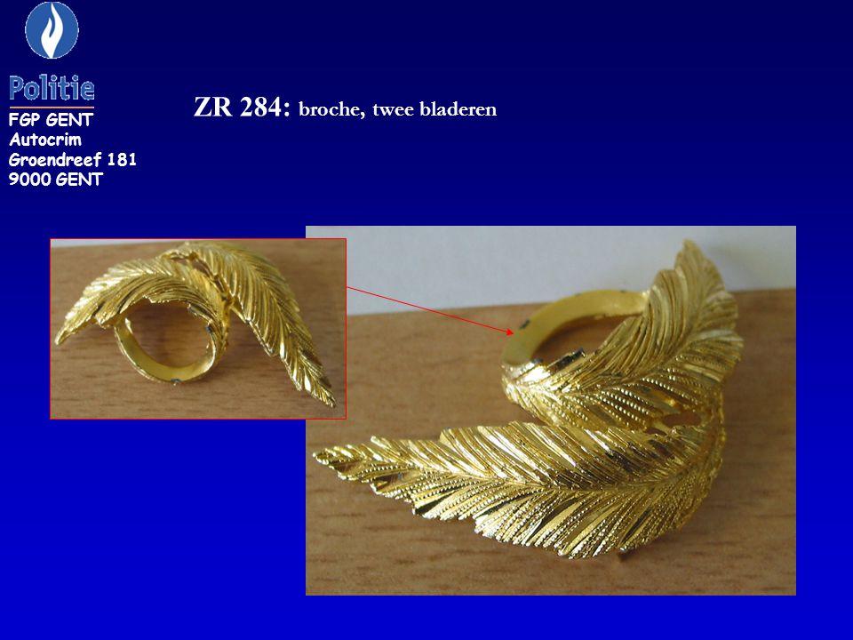 ZR 284: broche, twee bladeren FGP GENT Autocrim Groendreef 181 9000 GENT