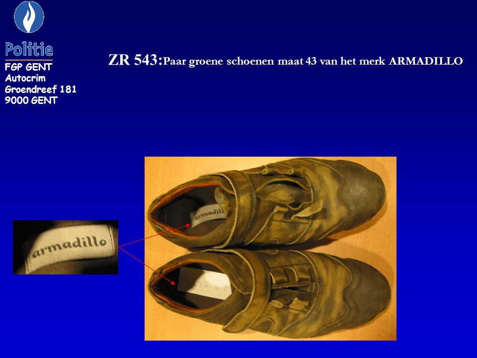 ZR 543: Paar groene schoenen maat 43 van het merk ARMADILLO FGP GENT Autocrim Groendreef 181 9000 GENT