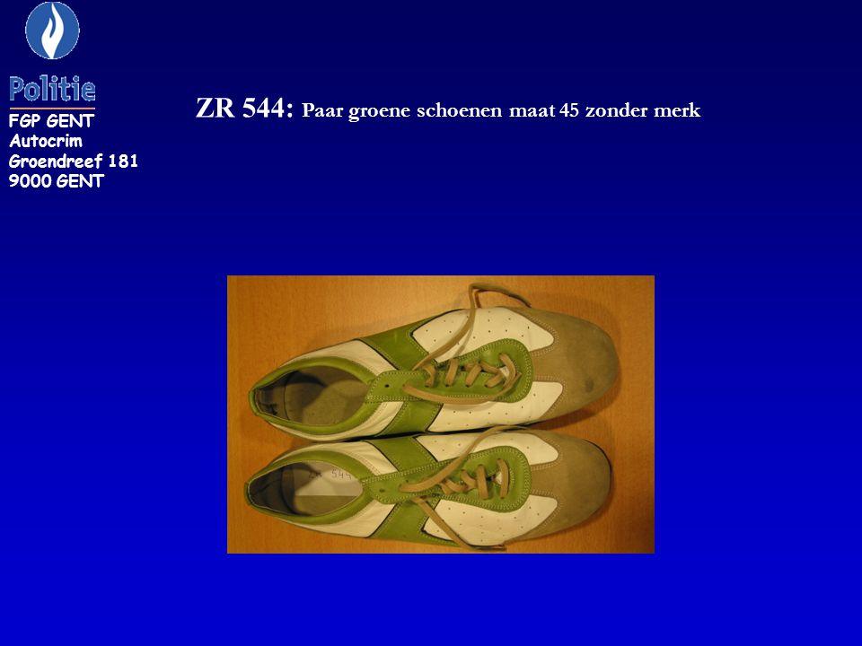 ZR 544: Paar groene schoenen maat 45 zonder merk FGP GENT Autocrim Groendreef 181 9000 GENT