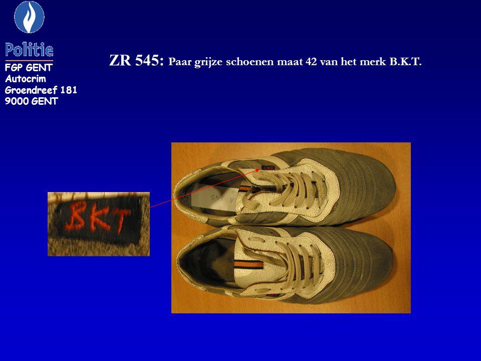 ZR 545: Paar grijze schoenen maat 42 van het merk B.K.T. FGP GENT Autocrim Groendreef 181 9000 GENT