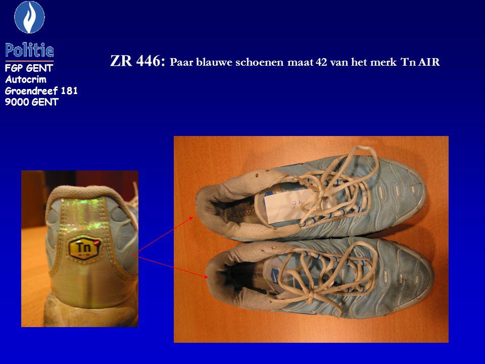 ZR 446: Paar blauwe schoenen maat 42 van het merk Tn AIR FGP GENT Autocrim Groendreef 181 9000 GENT