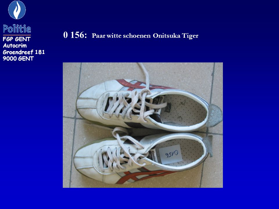 0 156: Paar witte schoenen Onitsuka Tiger FGP GENT Autocrim Groendreef 181 9000 GENT
