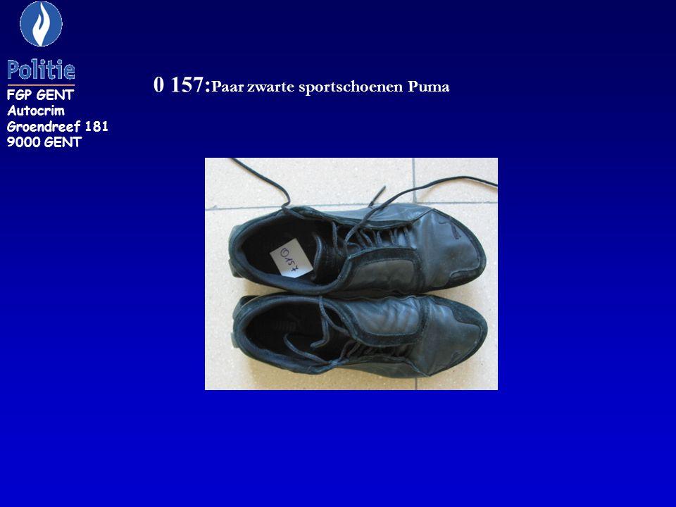 0 157: Paar zwarte sportschoenen Puma FGP GENT Autocrim Groendreef 181 9000 GENT