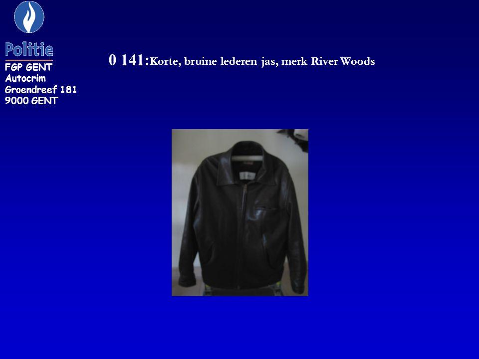 0 141: Korte, bruine lederen jas, merk River Woods FGP GENT Autocrim Groendreef 181 9000 GENT